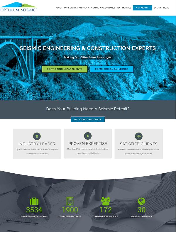 optimum seismic website screenshot