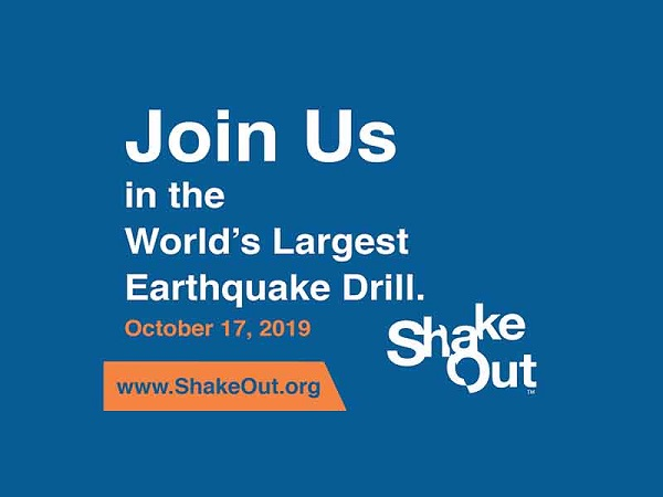 The Great Shake Out will be Thursday, October 17, 2019