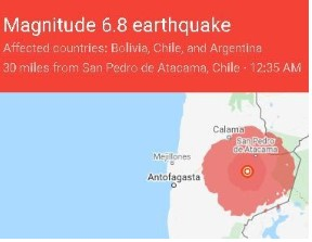 6.8-Magnitude Quake Strikes Chile, Sparks Foundry Fire