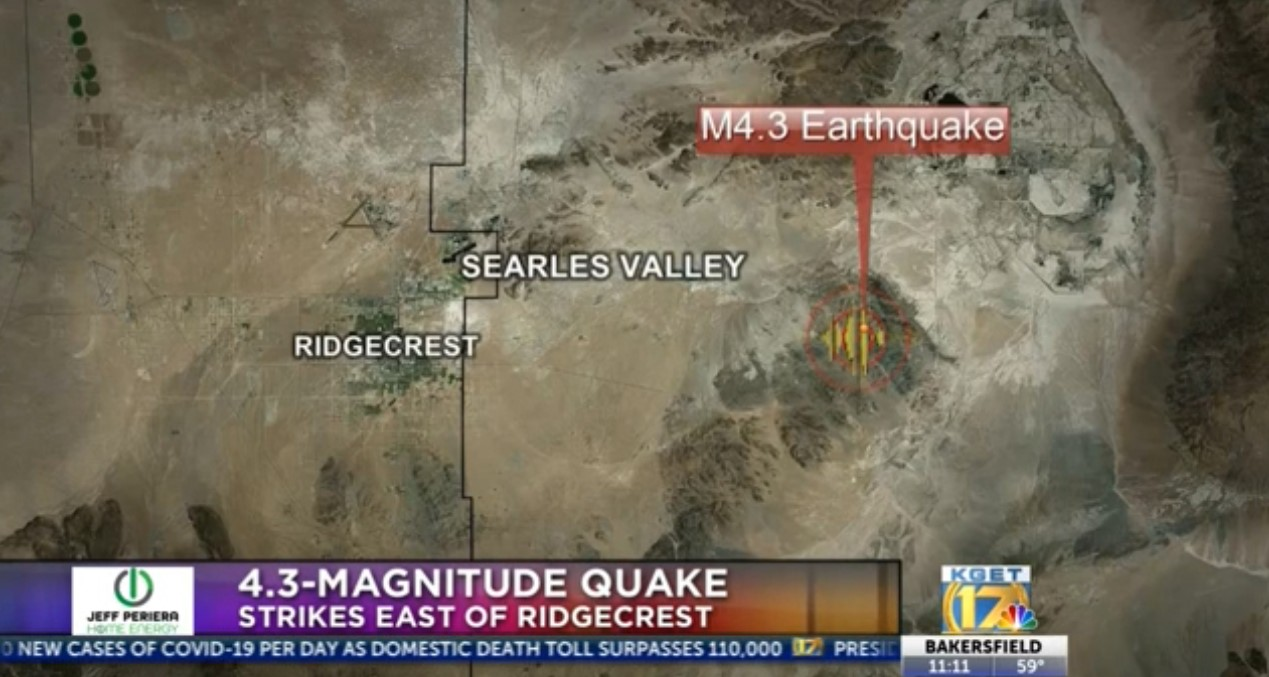 A 4.3-mangitute earthquake hit near Ridgecrest