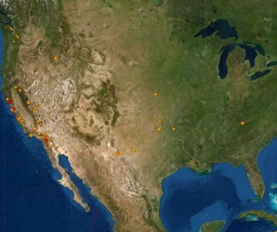 USA shaken by 130 earthquakes on Memorial Day